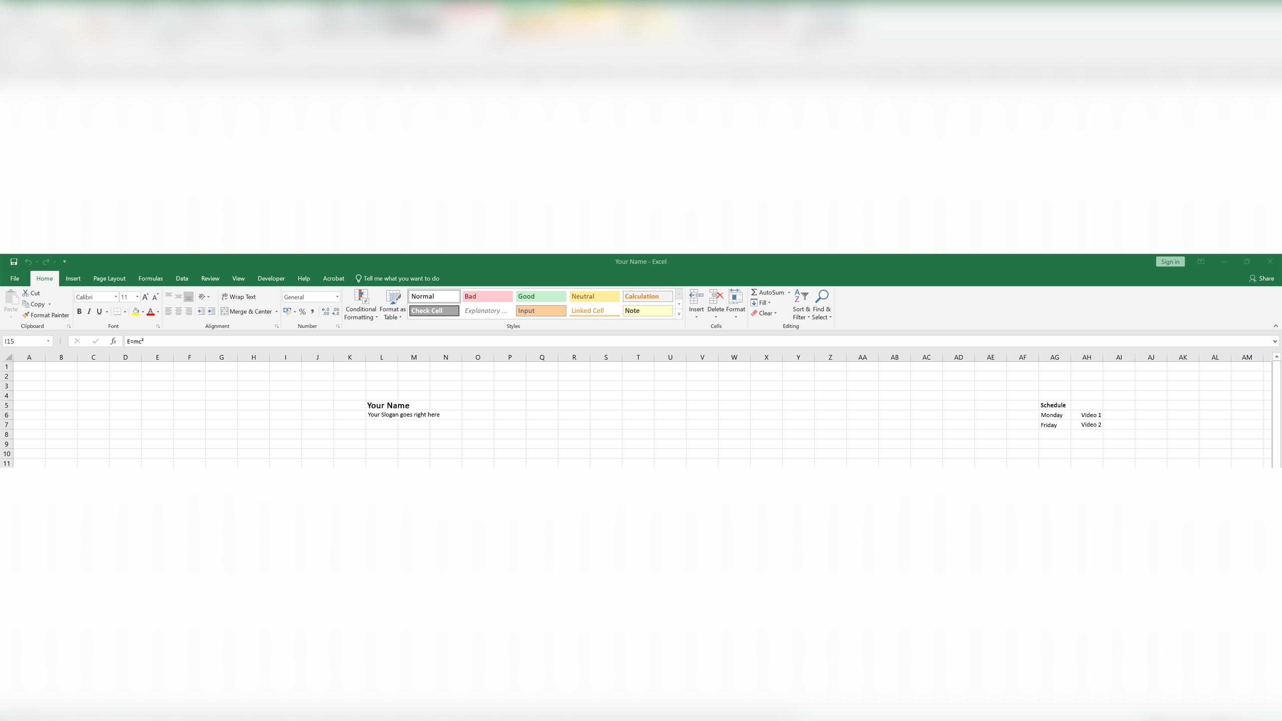 Excel Banner