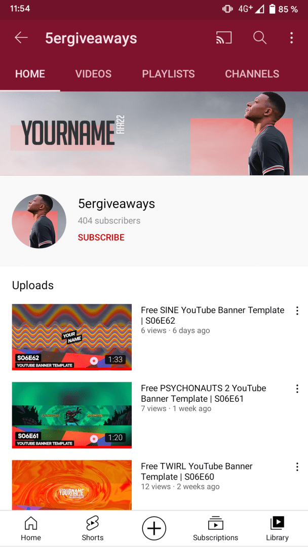 FIFA 22 YouTube Banner Example Mobile