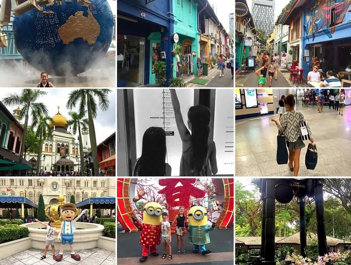 collage af billeder fra Singapore