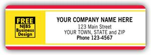 330 Labels with Business Design Padded Red Yellow Border 3 1/2 x 1 1/8