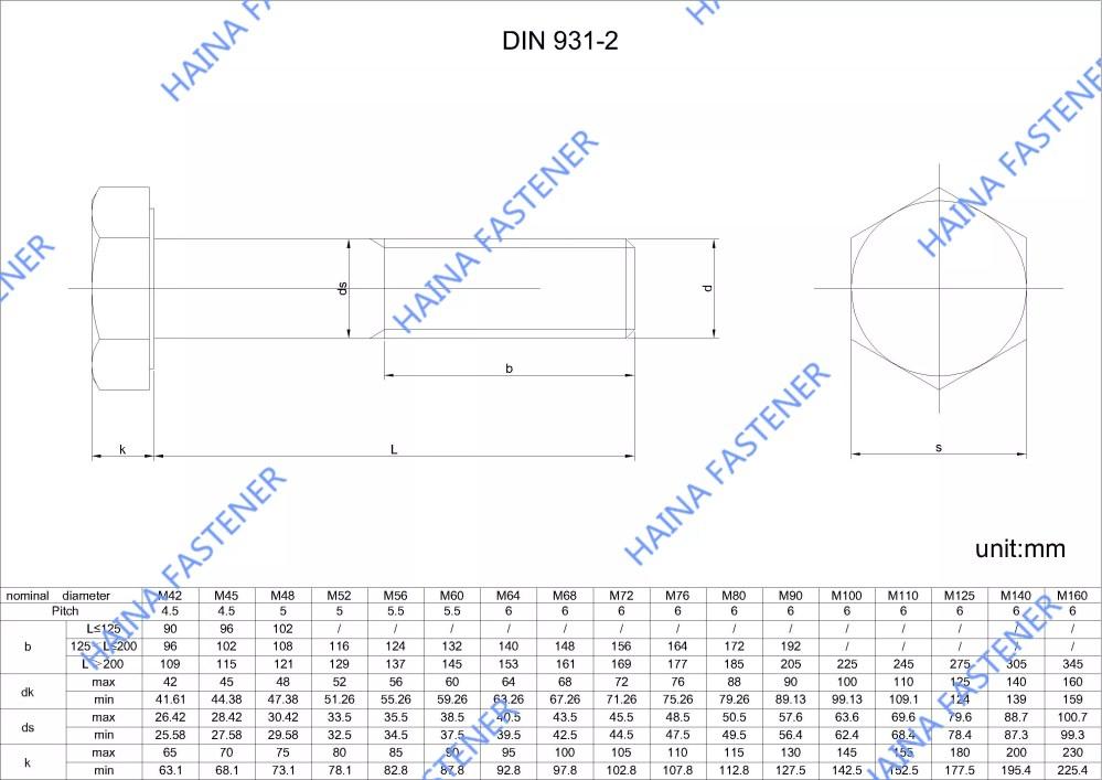 medium resolution of din931 hex bolt drawing