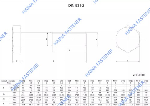 small resolution of din931 hex bolt drawing