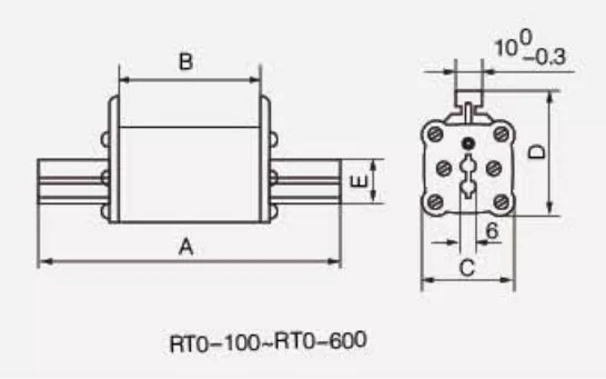 RT0-100-600 fuse drawing