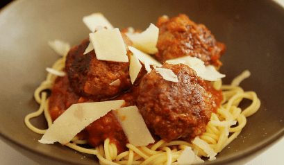 Production still of spaghetti and meatballs from 'Pairings'