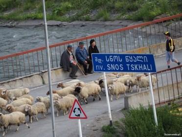 Towarzyskie spotkania na moście nad rzeką Snoscchali (Snos Tskhali).