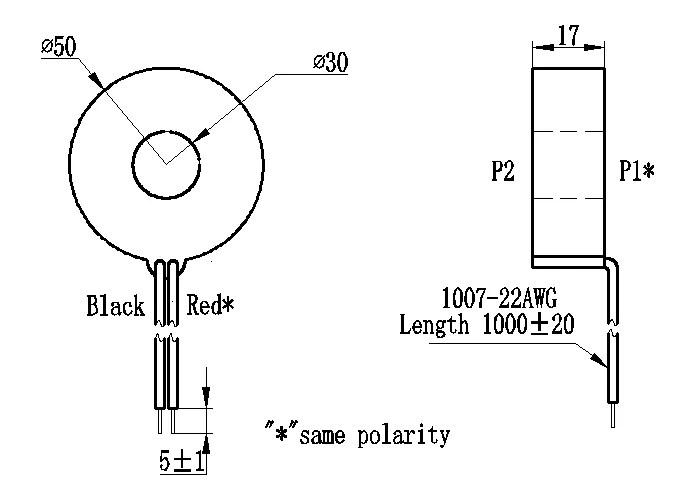 Φ30mm Current transformer Flying Wires 2000:1 0.2class