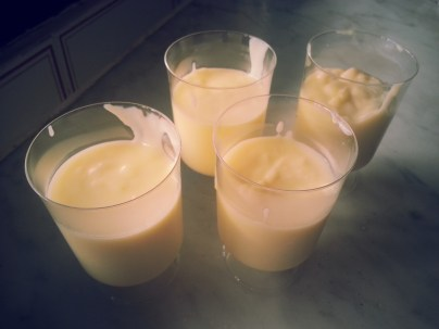 Vanilla and Rum Custard Pudding ready to be chilled