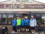 Steve, Paul, Kev, Kem and Dale outside Mrs Smith's, Riwaka