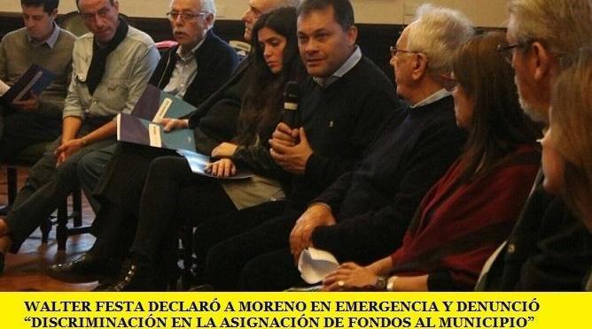 """WALTER FESTA DECLARÓ A MORENO EN EMERGENCIA Y DENUNCIÓ """"DISCRIMINACIÓN EN LA ASIGNACIÓN DE FONDOS AL MUNICIPIO"""""""