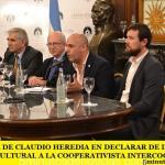 INICIATIVA DE CLAUDIO HEREDIA EN DECLARAR DE INTERÉS SOCIAL Y CULTURAL A LA COOPERATIVISTA INTERCOOP