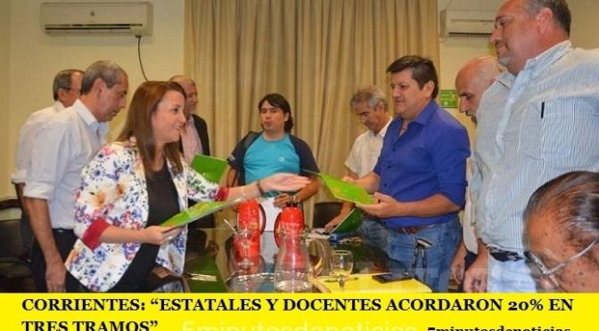 """CORRIENTES: """"ESTATALES Y DOCENTES ACORDARON 20% EN TRES TRAMOS"""""""