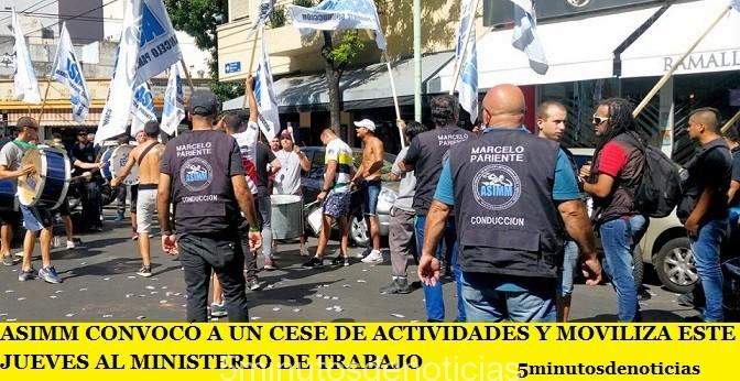 ASiMM CONVOCÓ A UN CESE DE ACTIVIDADES Y MOVILIZA ESTE JUEVES AL MINISTERIO DE TRABAJO