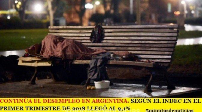 CONTINÚA EL DESEMPLEO EN ARGENTINA. SEGÚN EL INDEC EN EL PRIMER TRIMESTRE DE 2018 LLEGÓ AL 9,1%