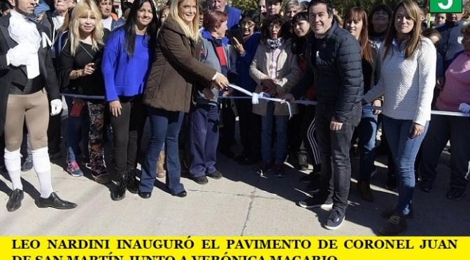 LEO NARDINI INAUGURÓ EL PAVIMENTO DE CORONEL JUAN DE SAN MARTÍN JUNTO A VERÓNICA MAGARIO