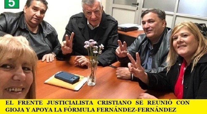 EL FRENTE JUSTICIALISTA CRISTIANO SE REUNIÓ CON GIOJA Y APOYA LA FÓRMULA FERNÁNDEZ-FERNÁNDEZ