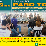 JUDICIALES BONAERENSES | Este 26 y 27 de junio, Paro, Movilización y Carpa frente al Congreso Nacional