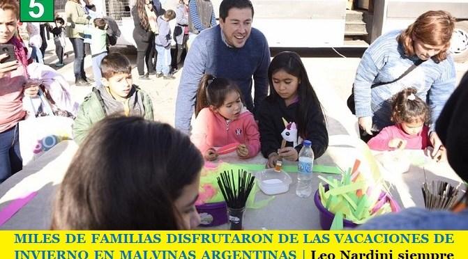 MILES DE FAMILIAS DISFRUTARON DE LAS VACACIONES DE INVIERNO EN MALVINAS ARGENTINAS   Leo Nardini siempre al lado de los vecinos