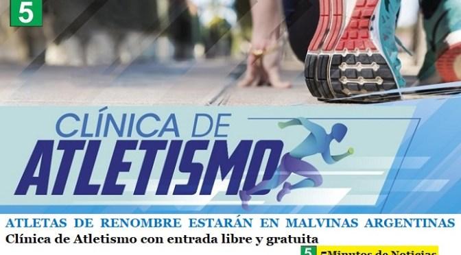 ATLETAS DE RENOMBRE ESTARÁN EN MALVINAS ARGENTINAS   Clínica de Atletismo con entrada libre y gratuita