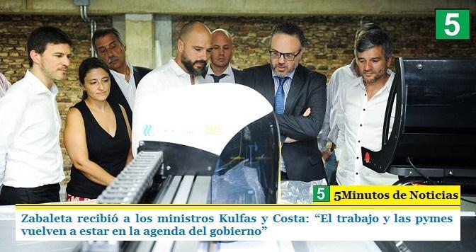 """Zabaleta recibió a los ministros Kulfas y Costa: """"El trabajo y las pymes vuelven a estar en la agenda del gobierno"""""""