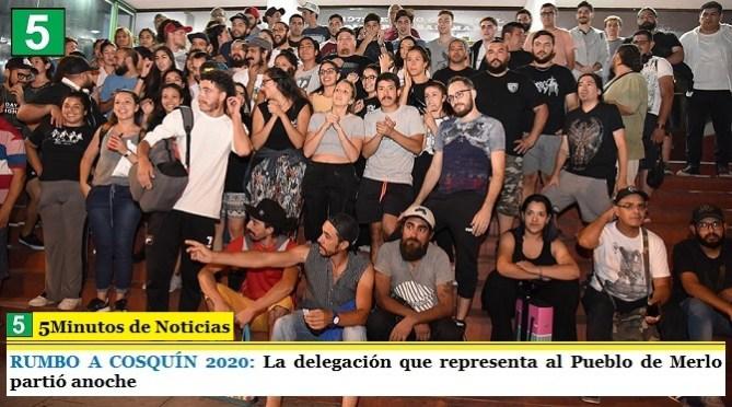 RUMBO A COSQUÍN 2020: La delegación que representa al Pueblo de Merlo partió anoche