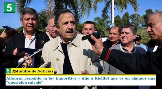 """Alfonsín respaldó la ley impositiva y dijo a Kicillof que ve en algunos una """"oposición salvaje"""""""