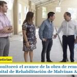 Leo Nardini monitoreó el avance de la obra de remodelación de la pileta del Hospital de Rehabilitación de Malvinas Argentinas