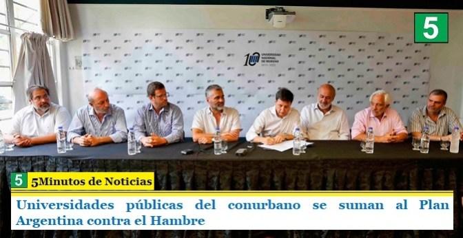 Universidades públicas del conurbano se suman al Plan Argentina contra el Hambre