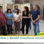 """""""Juanchi"""" Zabaleta y Baradel recorrieron escuelas en obras en Hurlingham"""