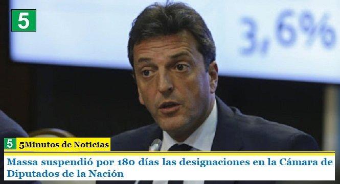 Massa suspendió por 180 días las designaciones en la Cámara de Diputados de la Nación