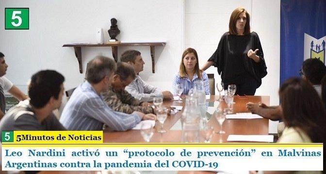 """Leo Nardini activó """"protocolos de prevención"""" en Malvinas Argentinas contra la pandemia del COVID-19"""