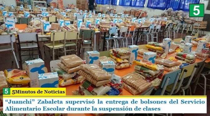 """""""Juanchi"""" Zabaleta supervisó la entrega de bolsones del Servicio Alimentario Escolar durante la suspensión de clases"""