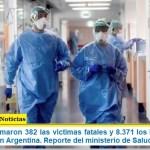 Este lunes sumaron 382 las víctimas fatales y 8.371 los infectados por coronavirus en Argentina. Reporte del ministerio de Salud