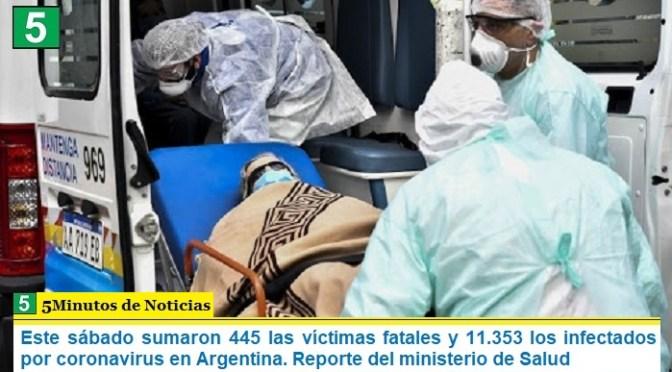 Este sábado sumaron 445 las víctimas fatales y 11.353 los infectados por coronavirus en Argentina. Reporte del ministerio de Salud