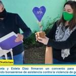 """""""Juanchi"""" Zabaleta y Estela Díaz firmaron un convenio para implementar en Hurlingham el fondo bonaerense de asistencia contra la violencia de género"""