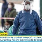 Este lunes sumaron 556 las víctimas fatales y 17.415 los infectados por coronavirus en Argentina. Reporte del ministerio de Salud
