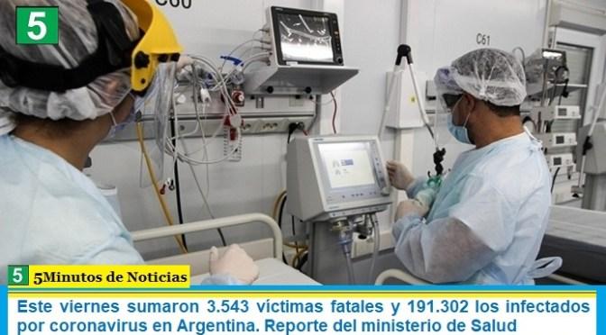 Este viernes sumaron 3.543 las víctimas fatales y 191.302 los infectados por coronavirus en Argentina. Reporte del ministerio de Salud