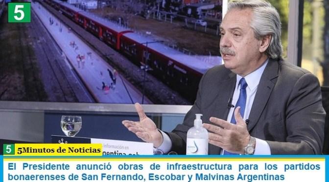El Presidente anunció obras de infraestructura para los partidos bonaerenses de San Fernando, Escobar y Malvinas Argentinas