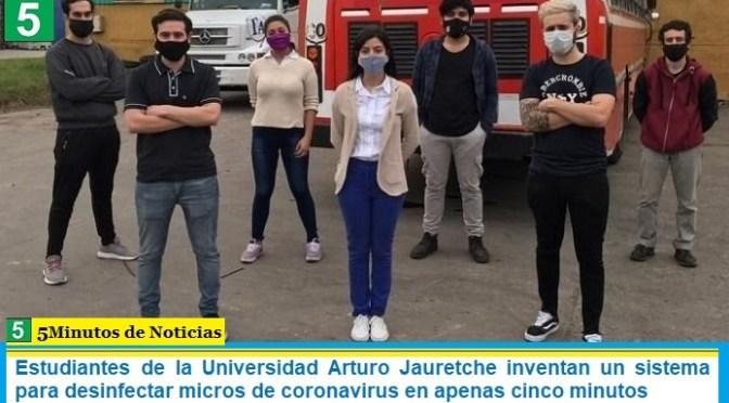 Estudiantes de la Universidad Arturo Jauretche inventan un sistema para desinfectar micros de coronavirus en apenas cinco minutos