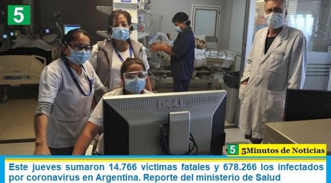 Este jueves sumaron 14.766 las víctimas fatales y 678.266 los infectados por coronavirus en Argentina. Reporte del ministerio de Salud