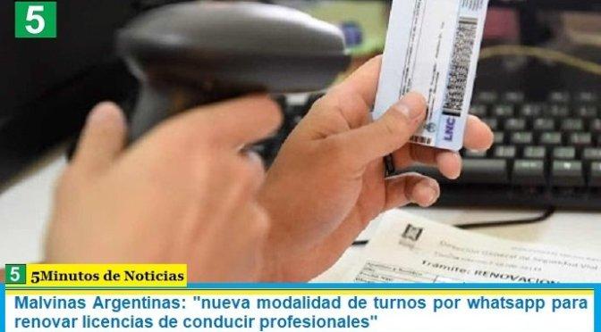 """Malvinas Argentinas: """"nueva modalidad de turnos por whatsapp para renovar licencias de conducir profesionales"""""""