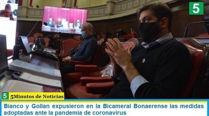 Bianco y Gollan expusieron en la Bicameral Bonaerense las medidas adoptadas ante la pandemia de coronavirus