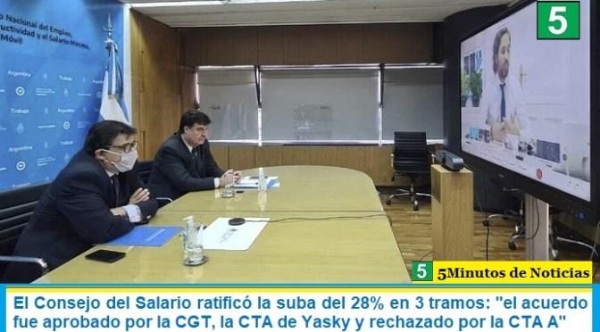 """El Consejo del Salario ratificó la suba del 28% en 3 tramos: """"el acuerdo fue aprobado por la CGT, la CTA de Yasky y rechazado por la CTA A"""""""