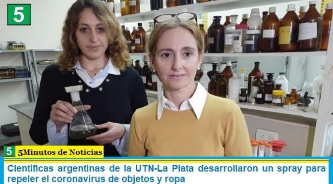 Científicas argentinas de la UTN-La Plata desarrollaron un spray para repeler el coronavirus de objetos y ropa
