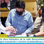 """Leo Nardini visitó la obra hidráulica de la calle Renacimiento: """"Nos pone muy felices seguir avanzando y resolver problemáticas a la gente"""""""