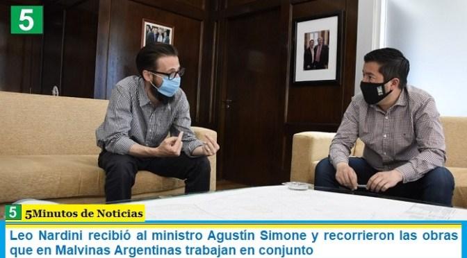 Leo Nardini recibió al ministro Agustín Simone y recorrieron las obras que en Malvinas Argentinas trabajan en conjunto