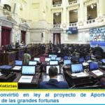 El Senado convirtió en ley al proyecto de Aporte Solidario y Extraordinario de las grandes fortunas