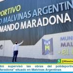 """Leo Nardini supervisó las obras del polideportivo """"Diego Armando Maradona"""" situado en Malvinas Argentinas"""