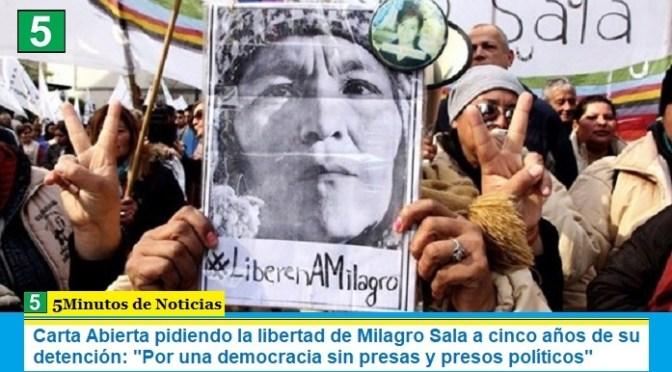 Carta Abierta pidiendo la libertad de Milagro Sala a cinco años de su detención: «Por una democracia sin presas y presos políticos»