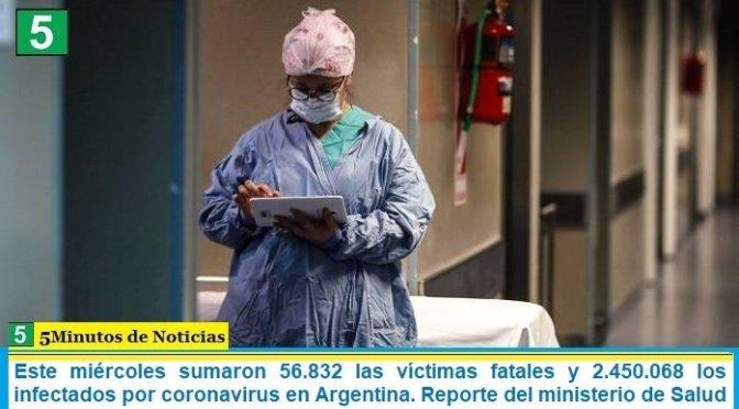 Este miércoles sumaron 56.832 las víctimas fatales y 2.450.068 los infectados por coronavirus en Argentina. Reporte del ministerio de Salud