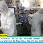 Este domingo sumaron 56.199 las víctimas fatales y 2.393.492 los infectados por coronavirus en Argentina. Reporte del ministerio de Salud